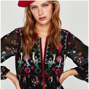 Zara embroidered chiffon mini dress